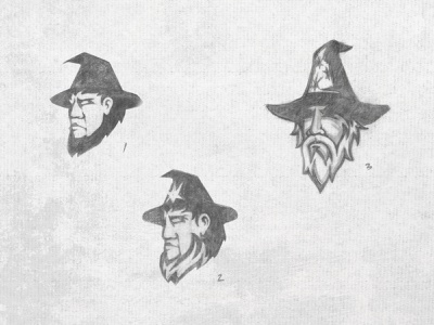 Three Floating Wizard Heads gandolf sage beard magic hat mascot magician magic necromancer wizards wizardry sketches pencilsketch pencils sketch wizard