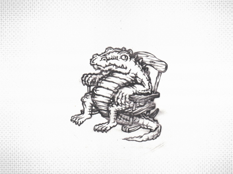 Ancient Alligator in a Rocking Chair pencil sketch culture southern leather skin crocs swamp snake dinosaur amphibian reptile jaws crocodiles lizard croc crococile alligators gators gator alligator
