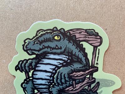 Clyde the Croc Sticker swampthing monster sticker stickerdesign stickermule dinosaur croc ancient bayou snake snakeyes reptilian louisiana swamp gator crocodile reptile alligator animal mascot