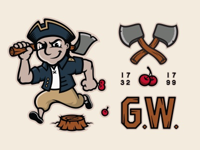 G. Washington Mascot & Elements wood mischief lumberjack cherry tree george washington president mythology myth patriotism patriot stump cherry axe character character design sports illustration lettering typography mascot