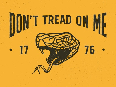 Don't Tread On Me typography lockup fangs fang reptile rattler justice liberty tread 1776 motto slogan history anaconda rattlesnake snake viper