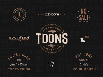 T·Don's Brand Identity & Elements bbq brand elements lockup old fashioned dry rub rub south small batch spicy spices food southern creole louisiana cajun