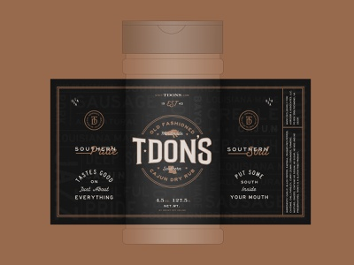 T·Don's Spice Label bbq lockup food spices southern louisiana creole package design package spicy packaging label cajun spice