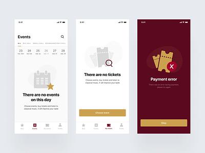 Empty states — Theatre App mobile app ticket app tickets theatre app theatre ios app ux ui interface