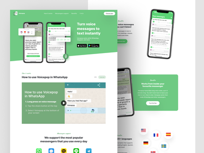 Voicepop web product page concept landing full page android ios mobile app green transcribing message app message typography design creative web ui ux interface