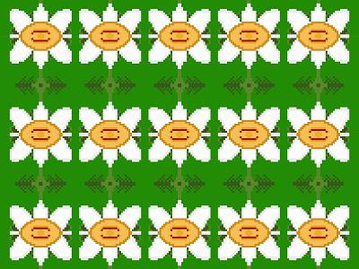Pixel Flower Pattern - 4 white yellow pixel art garden flower pixel illustration design pattern