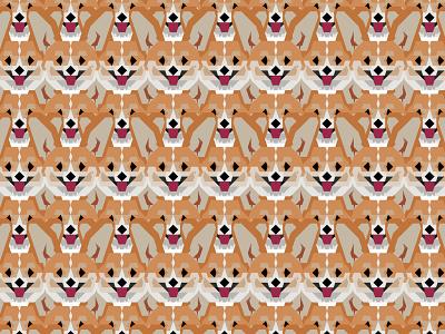 Cardigan Corgi Face Pattern - version one geometric art geometric animal pet corgi dog illustration pattern