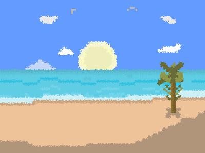 Beach V2 - Pixel Art clouds pixel art summer shadow sand palm tree water sky sun sea beach illustration
