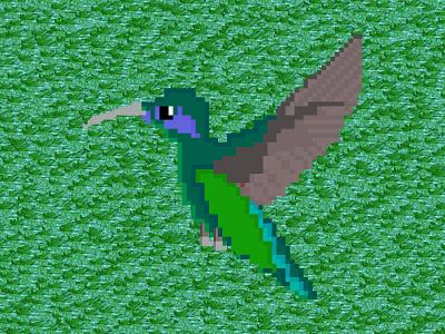 Pixel Hummingbird green colibri hummingbird bird animal pixel art illustration