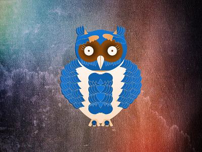 Blue Owl cave brown blue bird owl geometric animal illustration