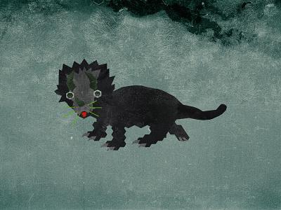 Catriceratops V2 prehistoric prehistory green black feline triceratops dinosaur cat animal illustration