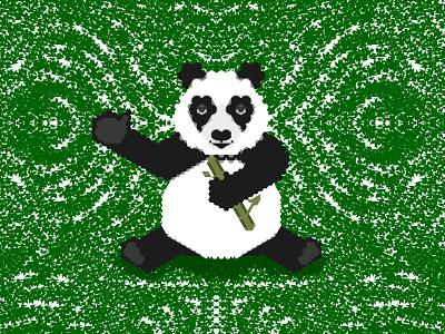 Geometric Panda bamboo nature bear panda green white black illustration animal