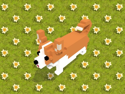 A panda made using only geometric shapes (mostly hexagons). 3d voxelart voxel dog flower green geometric pattern animal illustration
