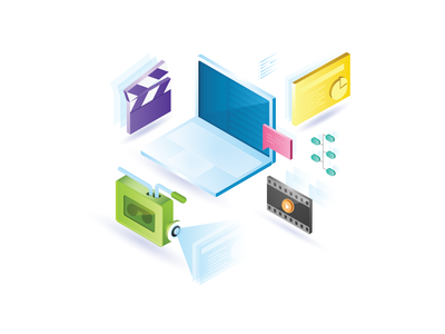 Production Services Announcement digital illustration pluralsight illustration video editing graphic design video production laptop isometric illustration