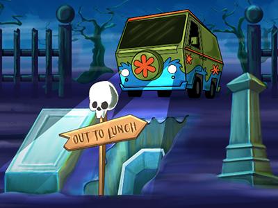 Out To Lunch illustration graveyard skulls mystery machine flexbox code school