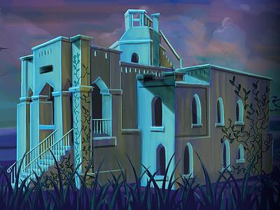 Mausoleum illustration bats moon ghost mystery machine mausoleum flexbox code school