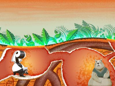 Burrowing Isn't Easy golang go code school illustration tunnels underground groundhog skunk