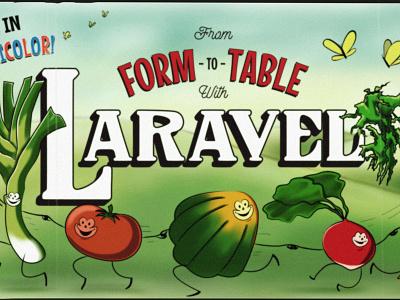Laravel, Vegetarian Style technicolor farm dancing vegetables vegetables code school retro animation retro cartoon procreate digital illustration
