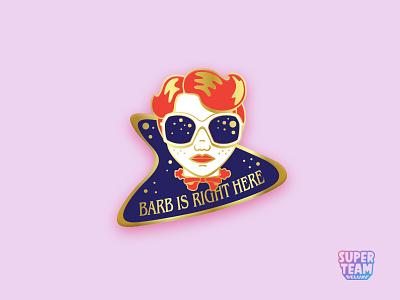 Where's Barb? sci-fi super team deluxe cs17 creative south wheres barb barb stranger things lapel pin pin