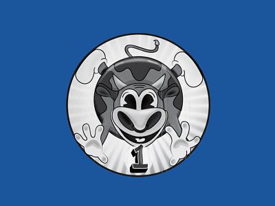Silly Heifer badge laravel code school black and white heifer cow farm animals illustration