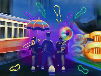 Second Line street car float parade beads nola new orleans mardi gras c code school digital illustration