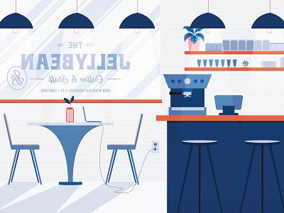 Jellybean Coffee Shop illustration interior scene espresso machine coffee shop coffee jellybean