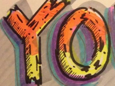 YO (ur mom) dsotd hand lettering high-lighters