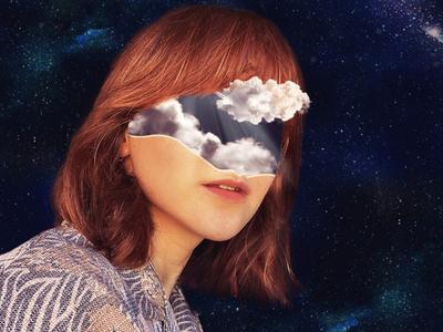 cloud cloud girl flower design illustration photomanipulation bright