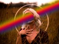 color nostalgic cloud girl illustration photomanipulation bright colorful color rainbow
