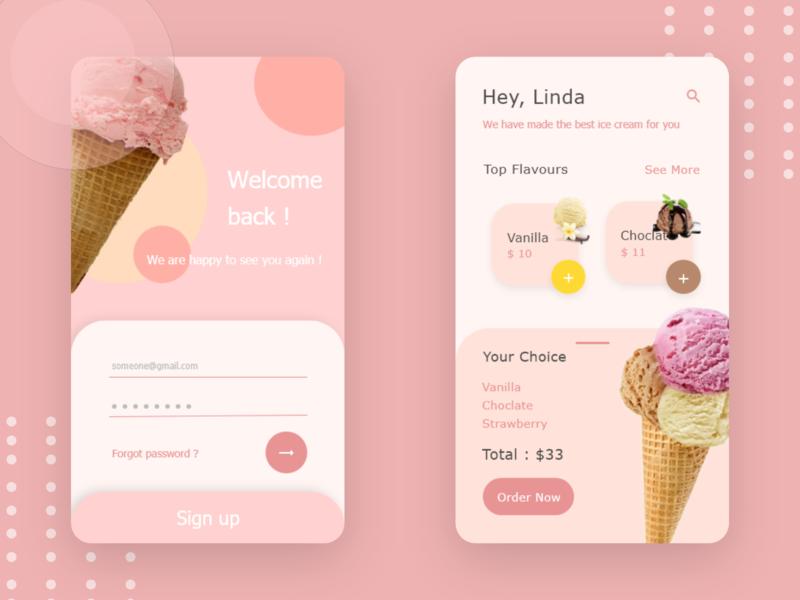ice cream app app dailyui ui ux design