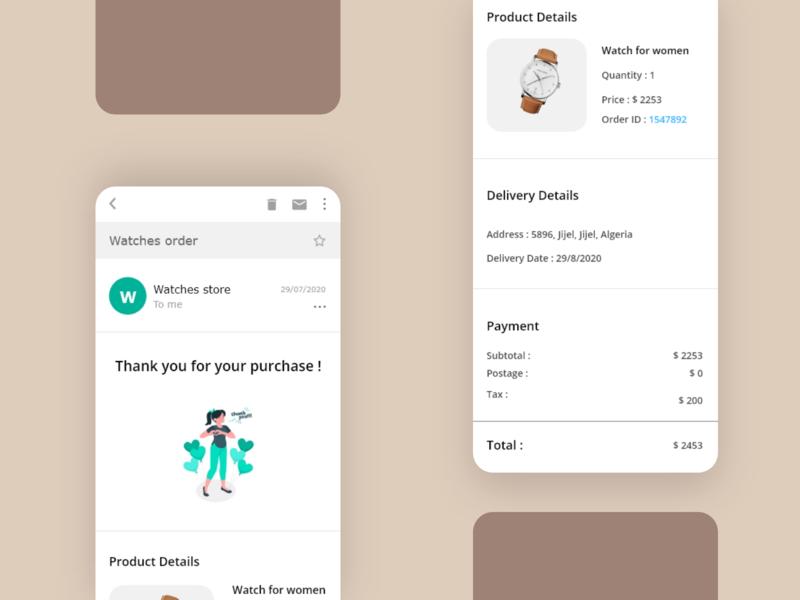 Receipt email design app dailyui ux ui design