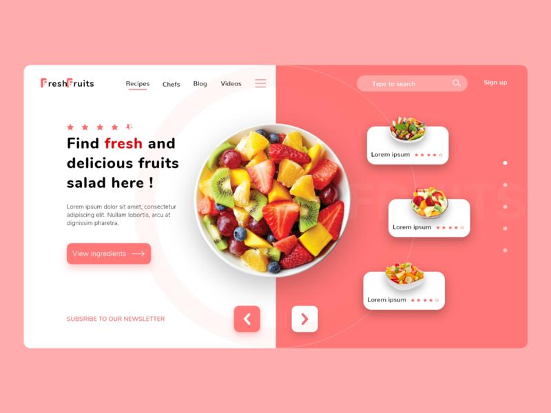 fruits salad landing page ux ui dailyui web design