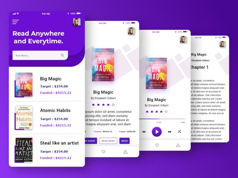 Crowdfunding Campaign audiobook app app dailyui web ux ui design