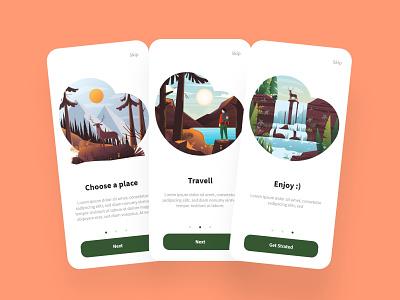 Dtraveller onboarding screens ui design ux design app ux ui design