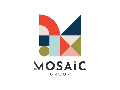 mosaic group logo geometric mosaic flat vector branding logo illustration design