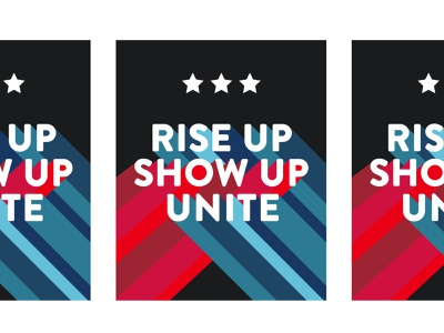 rise up red white and blue rise up design biden vote2020 typography poster political vote