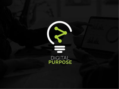 digital purpose logo tech lightbulb identity graphic marketing agency marketing branding logo design