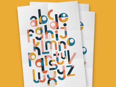 ABC poster abc alphabet vector pattern geometric lettering typography retro illustration graphic poster design