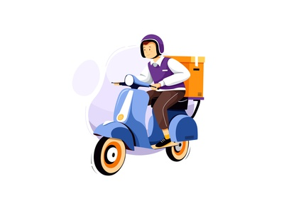 Courier Service Motorbike Delivery Illustration