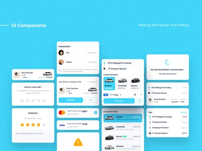 Taxi booking - UI Components components ordering sharing on-demand grab mobile booking delivery uber taxi ui aber ui kit ui material ios interface flat map tracking app ui app