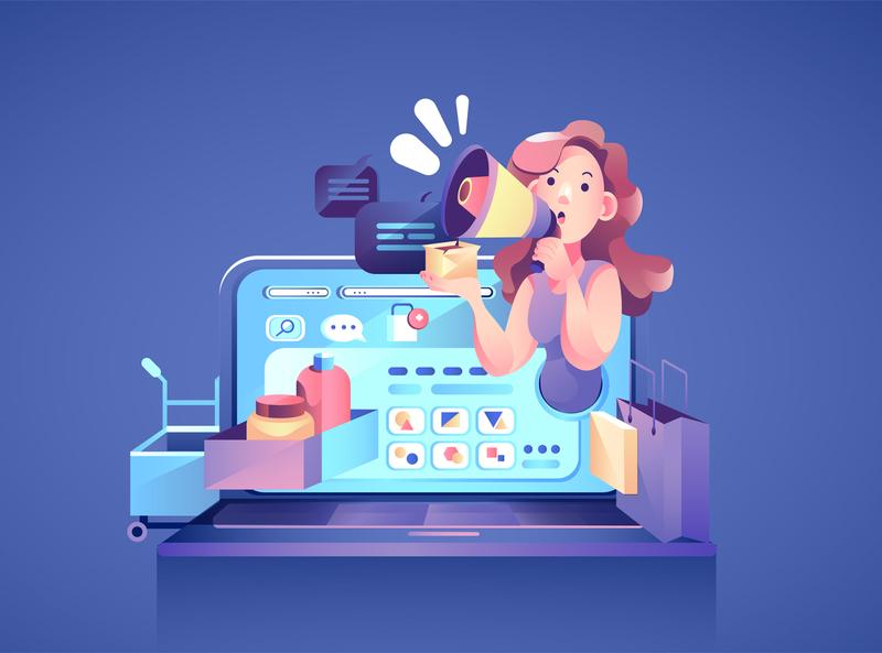 Marketing team attracting customers on news feed