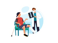 Young man with broken leg, bone in doctor s office at reception.