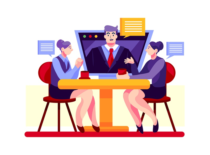 Video conference - Work from home concept template design vector concept interface material illustration remotely remote freelance staysafe work from home meeting online video call