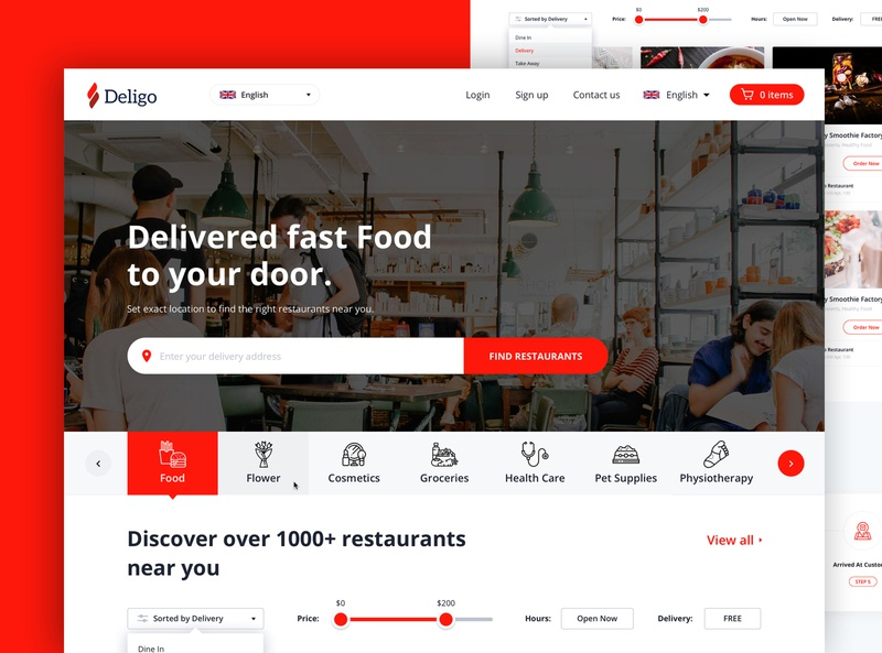 Deligo - On-Demand Delivery Website grocery app food booking ondemand delivery web material interface wireframe ux ios mobile app ui kit template theme post login sign up