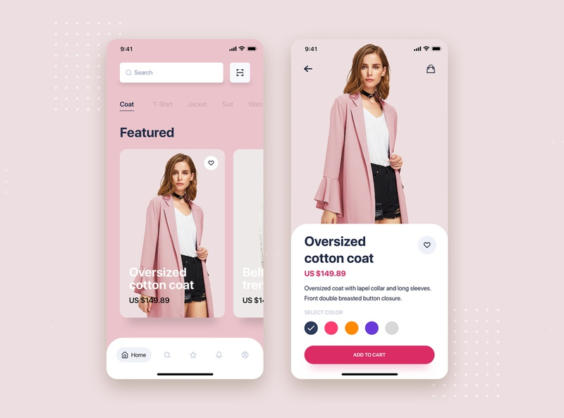 Women's clothing mobile app concept ui fashion ecommerce store shopping design minimal flat website web material interface wireframe ux ios mobile app ui kit template theme