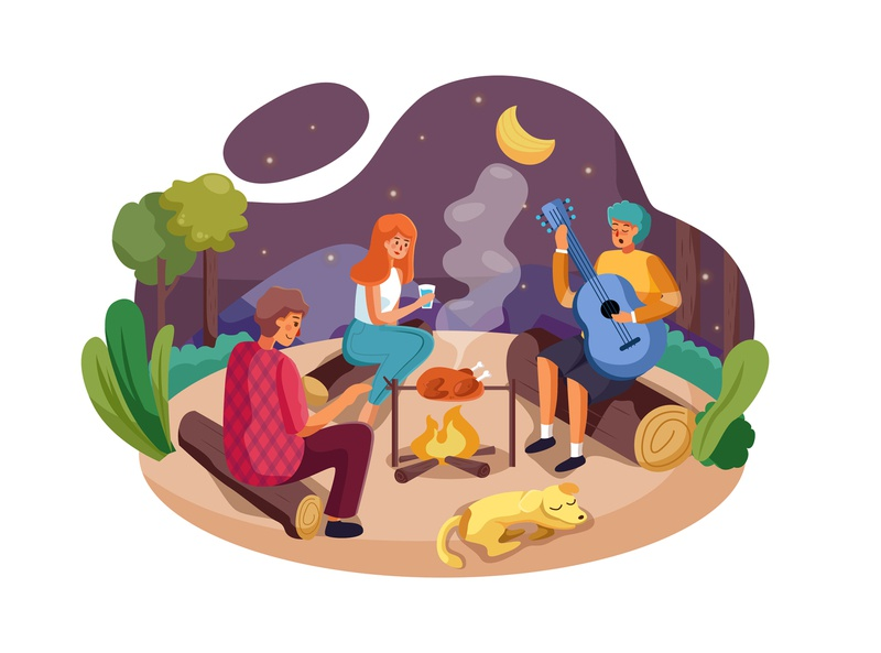 Happy friends enjoy camping picnic and barbecue decoration dance cooking cheerful celebration holiday party vector branding design template concept material illustration barbecue picnic friends trip camping outdoor