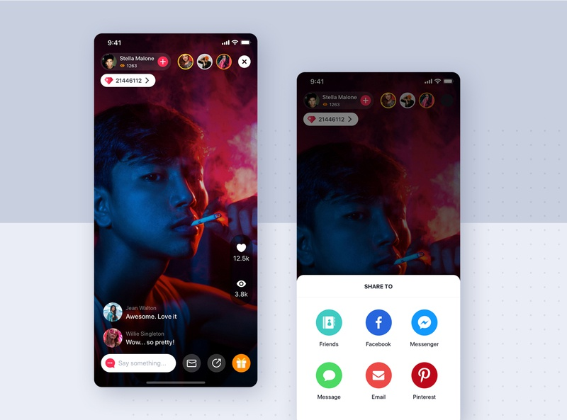 Video Streaming mobile UI concept podcast live streaming video concept ui camera design minimal flat material interface wireframe ux ios mobile app ui kit template theme