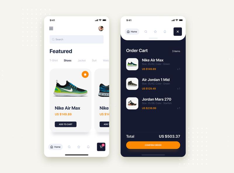 Nike Store mobile concept - Cart order shoes nike order cart ecommerce store shopping kit concept ui design minimal flat material interface ux ios mobile app ui kit