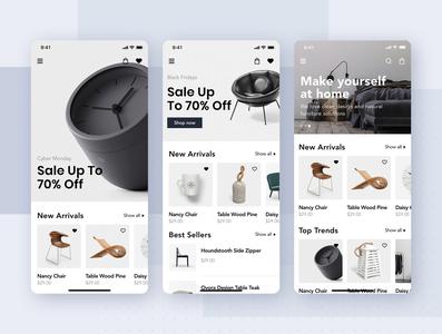 Furniture shop mobile app concept flat template kit concept interface material mobile ui kit app ui