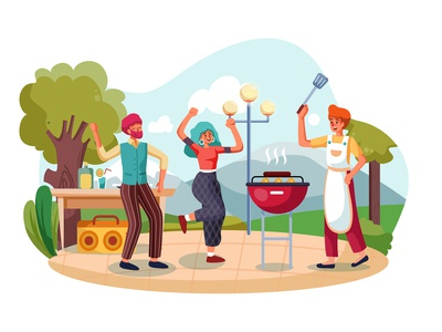Group of friends dancing at outdoors barbecue party party barbecue dancing outdoors concept illustration weekend vector together talking enjoying eating summer drink decoration dance cooking cheerful celebration holiday